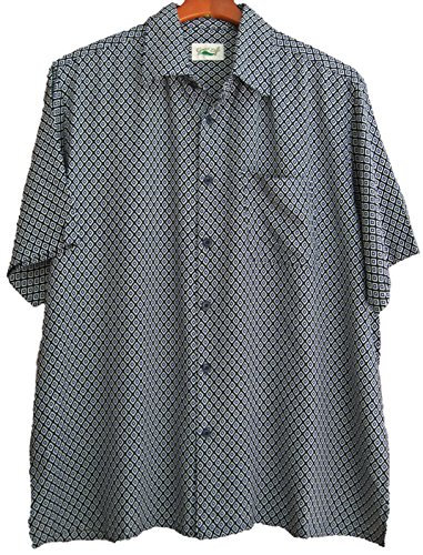 Good Life Mens Silk Shirt Button Front Camp Blue Diamonds Casual (XXL)