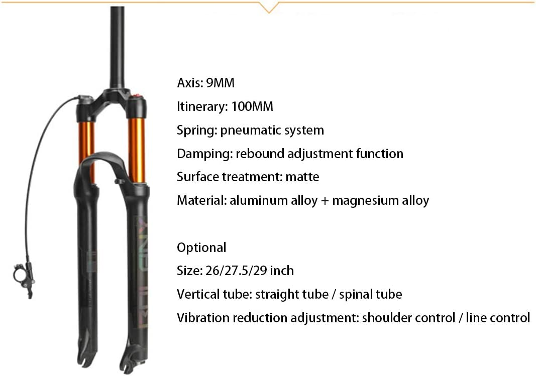 B07XNMWDQL HIOD Bicycle Fork Damping Adjustment Air Pressure Shock Absorption Suspension Shoulder Control Straight Tube/Cone Tube Bike Fork,Gold-B,26-inch 51iAqcVUgKL.SL1111_