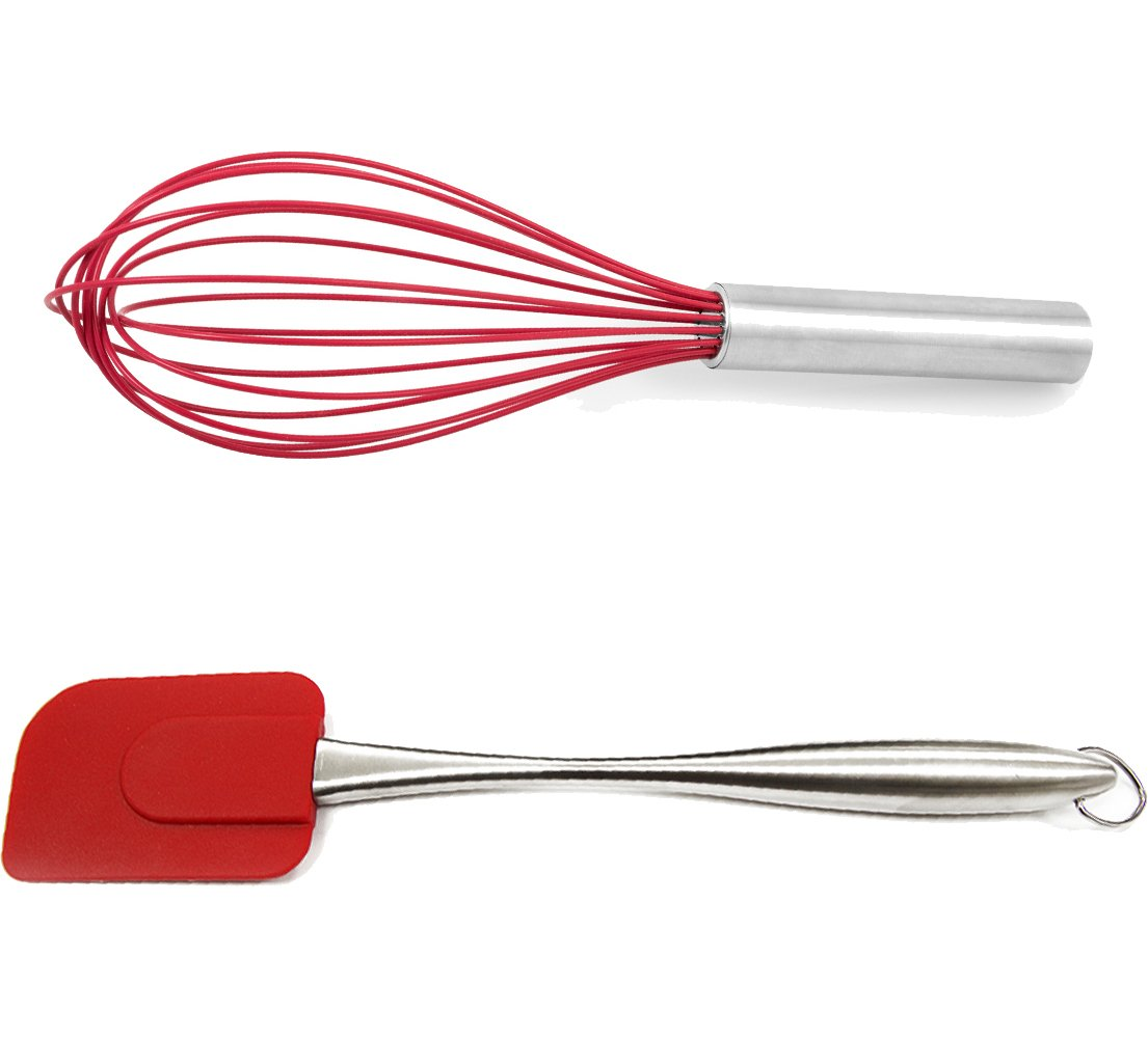 Holstein Housewares HB-07026R-BU 2-Piece Silicone and Stainless Steel Baking Set - Red