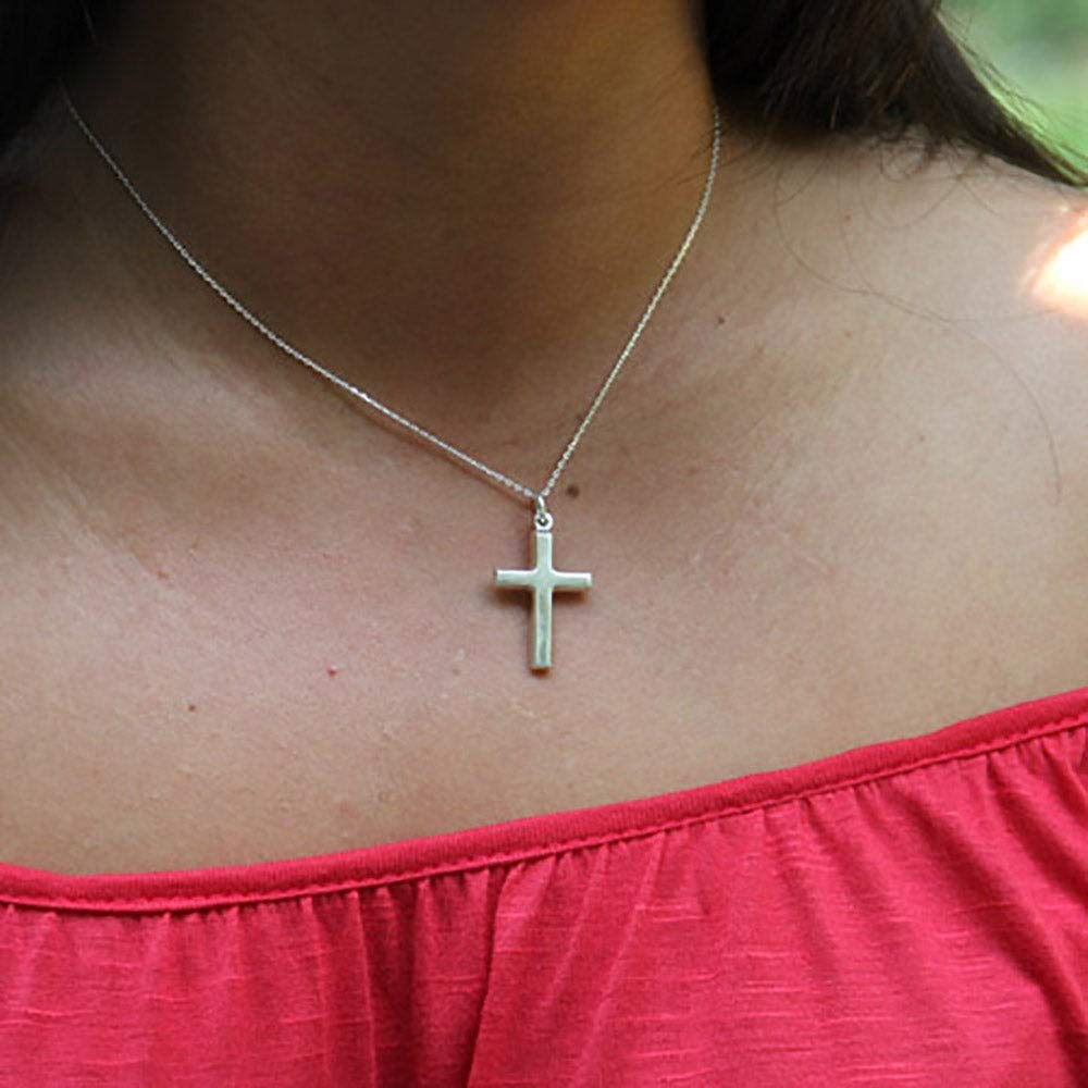 Sterling Silver Cross Necklace 18 Chain
