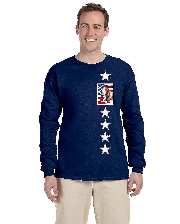 Carolines Treasures SC9004-LS-NAVY-XL USA American Flag with Basset Hound Long Sleeve Blue Unisex Tshirt XL Multicolor XL