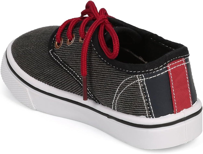 Black Toddler//Little Boy//Big Boy Size: Little Kid 12 Denim Mix Media Round Toe Classic Lace Up Sneaker DG56