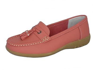 0692f15f899 Cushion Walk Ladies Women s Real Full Leather Tassel Slip On Wider Fitting  Loafer Moccasin Flats Walking