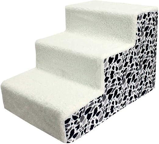 HH- Escaleras de Mascotas Escaleras para Mascotas 3 Pasos, Escalera para Mascotas para Perro Gato Acolchado Blando, Cubierta Desmontable, Parte Inferior Antideslizante: Amazon.es: Productos para mascotas