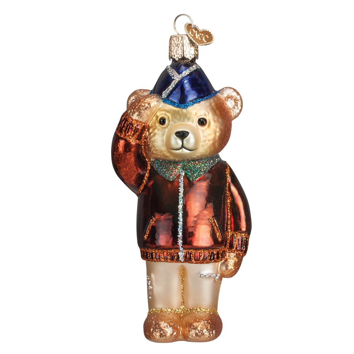 Old World Christmas Ornaments: Air Force Bear Glass Blown Ornaments for Christmas Tree