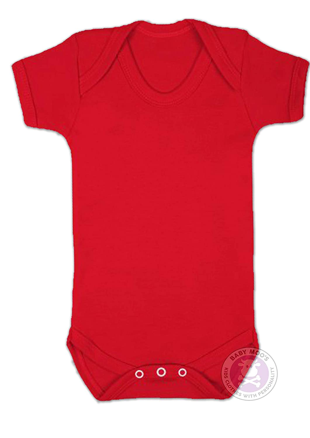 Baby Shower Gift Ideal for Printing or Embroidery New Baby Gift RED Blank Plain Baby Grow for Boys or Girls by BABY MOOS UK Bright Red Baby Vest//Bodysuit 3-6 Months