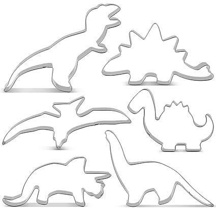 KENIAO Juego de Cortadores Galletas Dinosaurio Moldes para Galletas Infantiles - 6 Piezas - T-