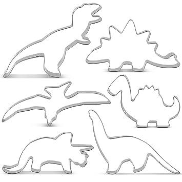 KENIAO Juego de Cortadores Galletas Dinosaurio Moldes para Galletas Infantiles - 6 Piezas - T-Rex, Triceratops, Stegosaurus, Brontosaurus, Pterodactyl ...