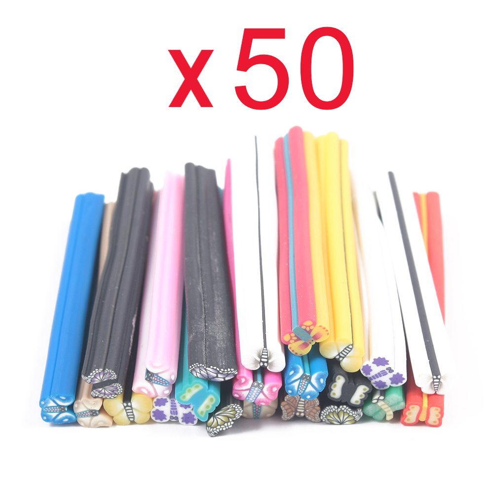 So Beauty 50pcs 3D Nail Art Manicure Butterfly Fimo Canes Sticks Gel Tips Deco Forever Love