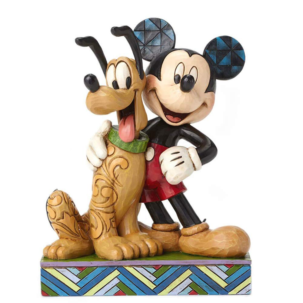 Disney Traditions by Jim Shore Mickey Mouse and Pluto Stone Resin Figurine, 6'' by Jim Shore for Enesco