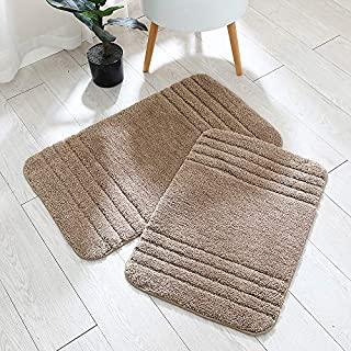 30x18 Inch/24X17 Inch Bath Rugs 2pcs Set Made of 100% Polyester Extra Soft and Non Slip Bathroom Mats Specialized in Machine Washable and Water Absorbent Shower Mat,Khaki …