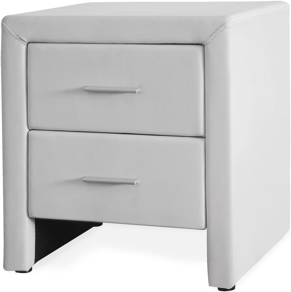 Corium ® Bedside Table with Drawer White Faux Leather Bedside Chest of Drawers Side Table
