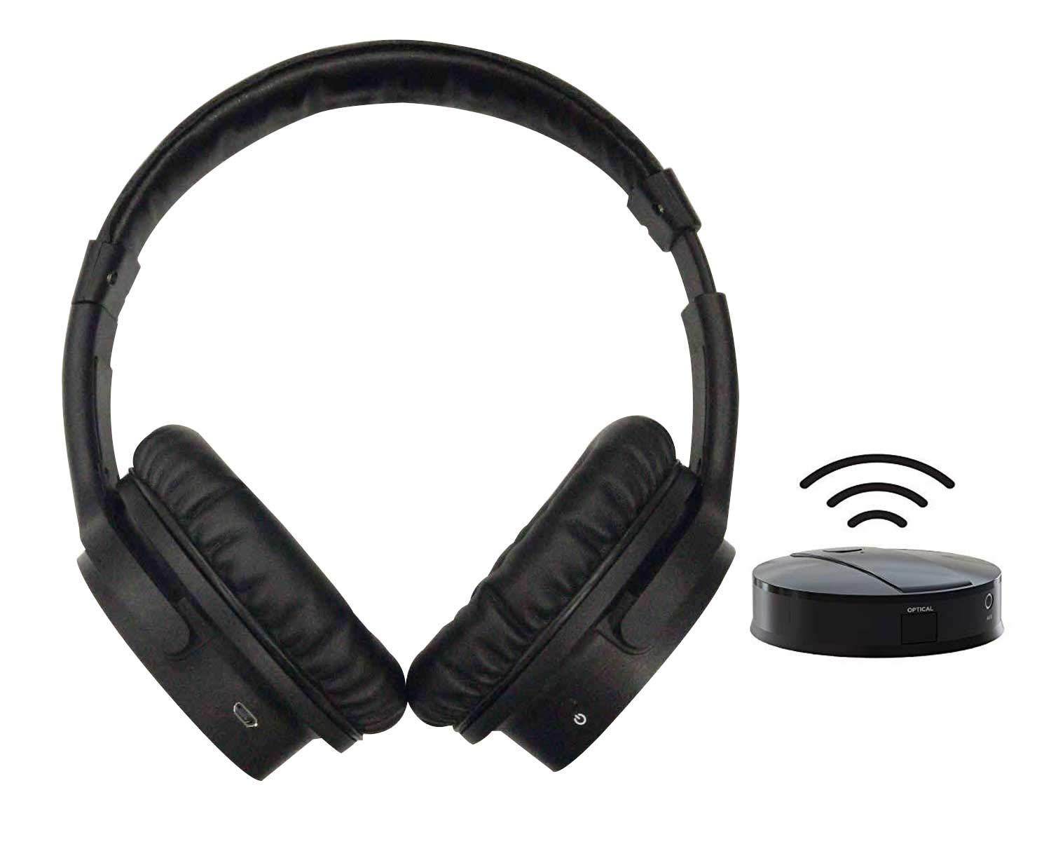 2.4GHz RF Wireless TV Headphones, Digital Stereo Over-Ear Headset, up to 100ft Distance Transmitter, 4 in1 Input, Support Optical, AUX, RCA & PC USB and 3.5mm Audio Port