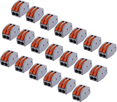 Wire Compact Connectors 20pcs Lever Nut 3 Way Reusable Spring Lever Terminal Block Electric Cable Connector