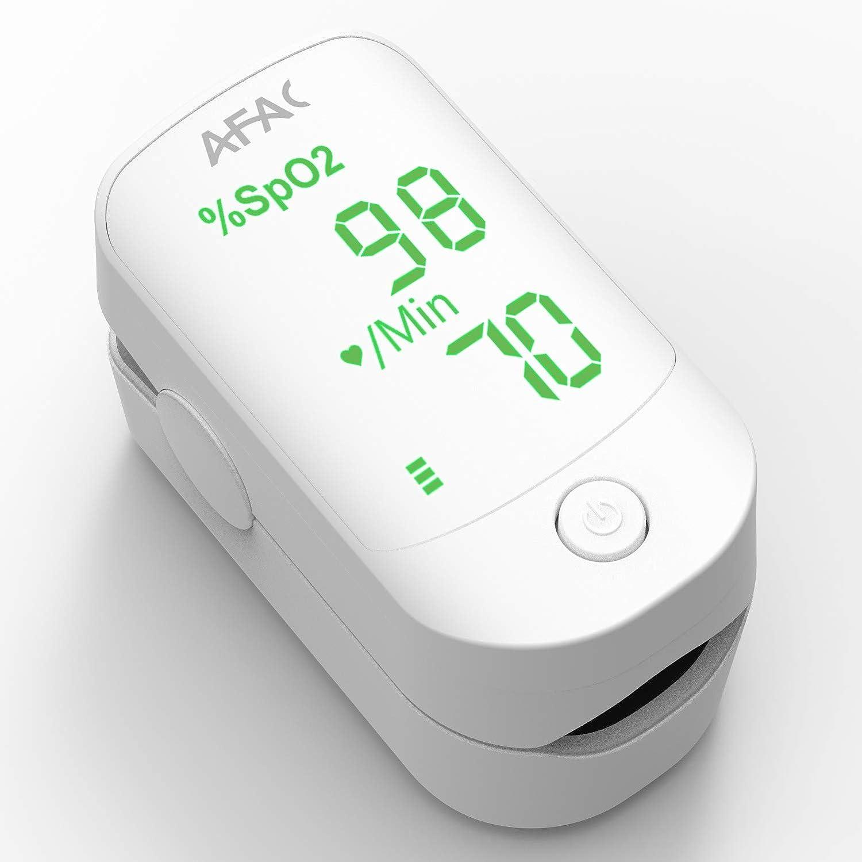 AFAC Pulsioximetro, Oximetro Dedo Profesional, Medición de Frecuencia Cardíaca la Saturación de Oxígeno, Para el Cuidado de la Salud Familiar, Lectura Instantánea con Pilas y Cordón