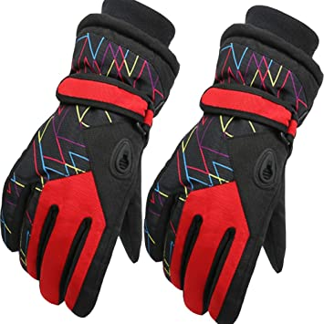 Arcweg Ski Gloves For kids Waterproof Warm Winter Snowboarding Mittens Boys Girls Thermal Windproof Fleece Lined Skiing Gloves Children Hiking Outdoor Sports Age 6-12