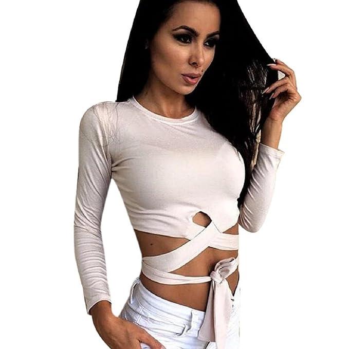 OverDose Moda para mujer Camiseta de manga larga camisa de la blusa ocasional camiseta de las