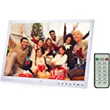 Digital Picture Frame, Andoer 13 inch LED Digital Photo Frame 1080P HD Resolution Desktop Display Image MP4 Video Support Auto Play with Infrared Remote Control/ 7 Touch Key (13 inch, White)