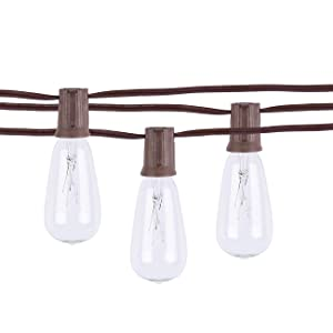 Afirst 20Ft Outdoor String Lights ST40 Patio String Lights with Clear Edison Bulbs,UL Listed Set of 20 Glass Edison String Lights Garden/Backyard Party/Wedding Indoor String Lights-Brown Wire