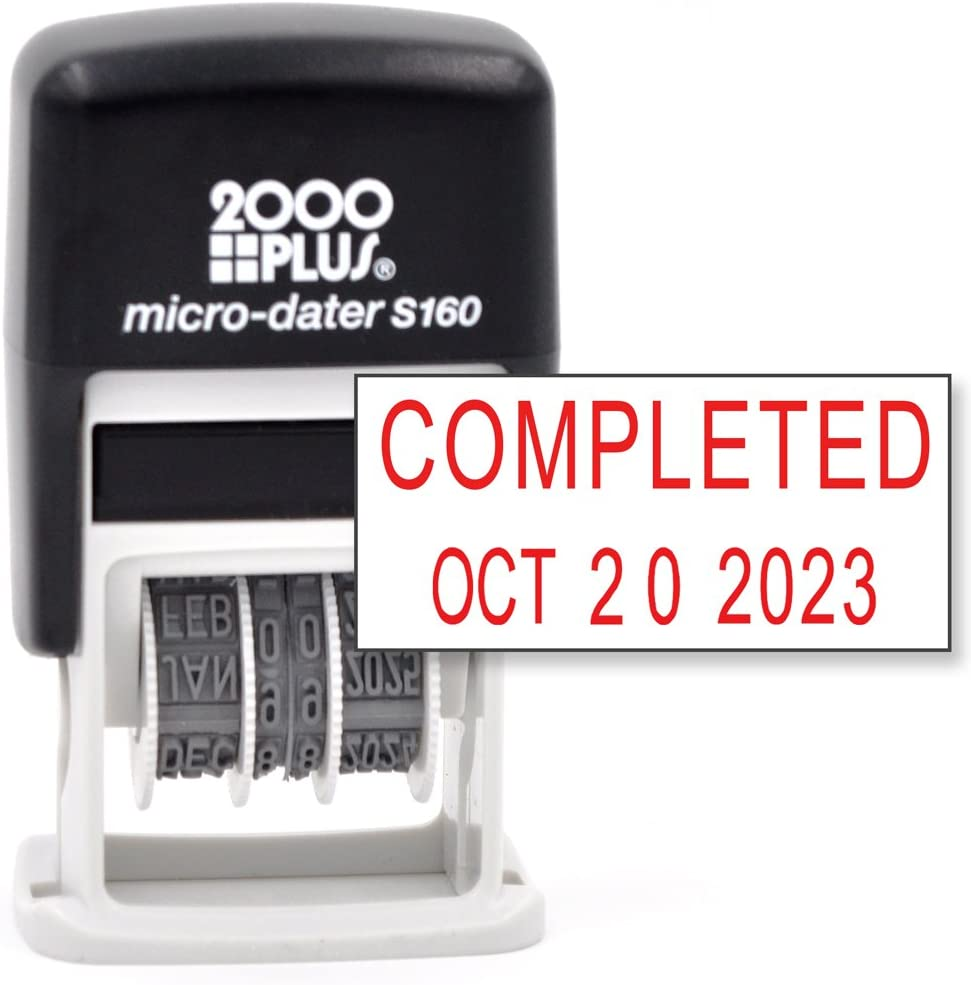 Cosco 2000 Plus Self-Inking Rubber Date Office Stamp with Completed Phrase & Date - RED Ink (Micro-Dater 160), 12-Year Band