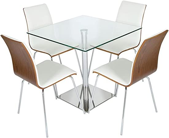 Levv Square 4 Seater Dining Table Set Clear Glass Walnut With White Padding Free Delivery Amazon Co Uk Kitchen Home