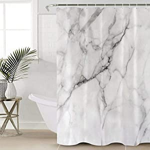 """Beauty Decor Marble Shower Curtain Waterproof Polyester Fabric Shower Curtains Granite Surface Motif with Sketch Nature Effect and Cracks Print Decorative Bathroom Curtain with Hooks 36"""" W x 72"""" L"""