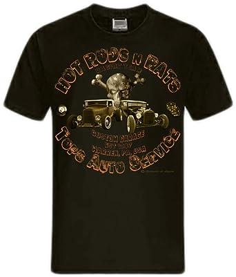 Hot Rods Rat Rods Street Rod Skull US Oldtimer Rockabilly Rodders  Shirtmatic Shirt (S =