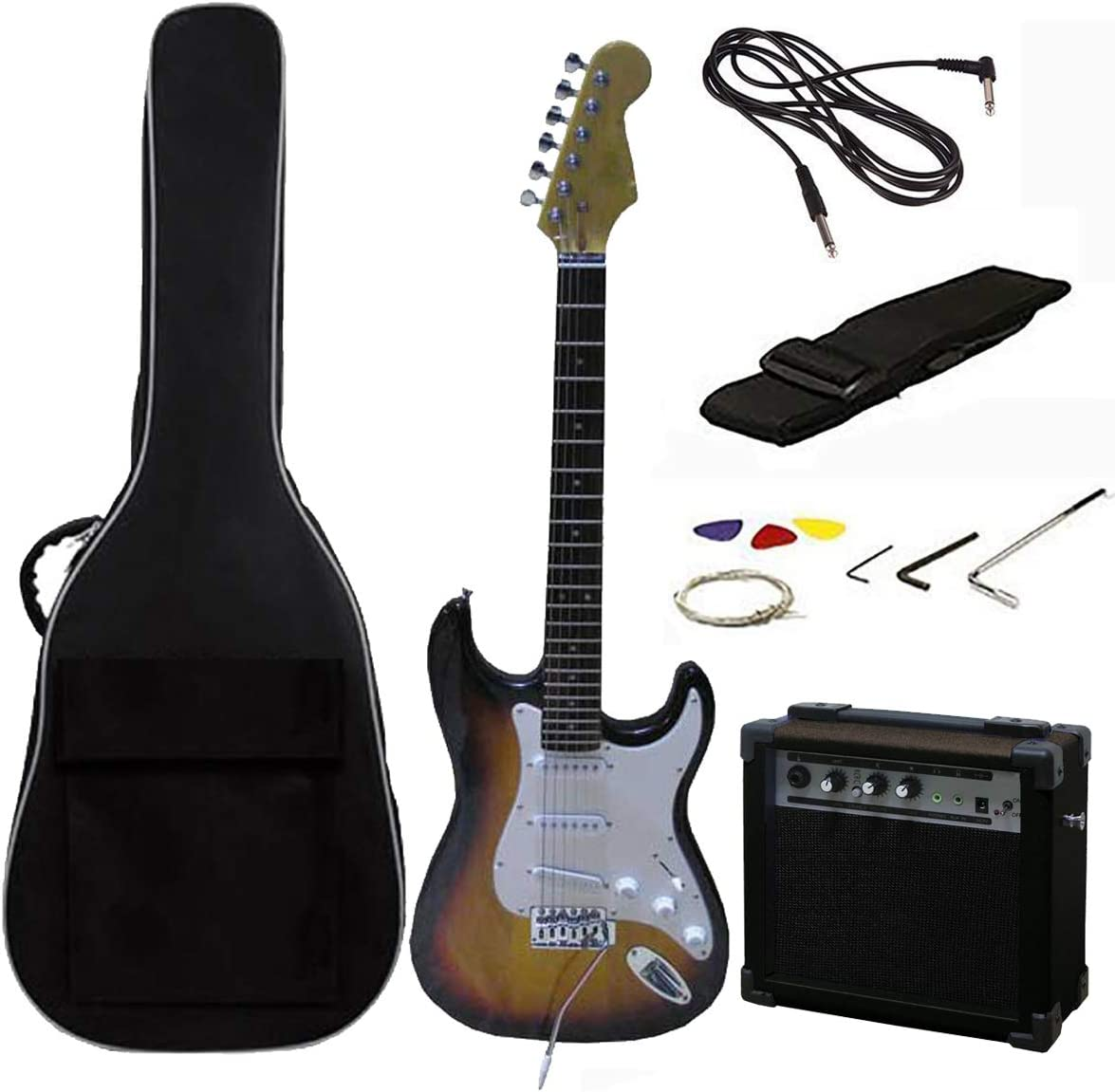 Tamaño RockJam eléctrica llena Superkit guitarra con amplificador de guitarra, secuencias de la guitarra, correa de la guitarra, guitarra bolsa y cable de la guitarra - Sunburst