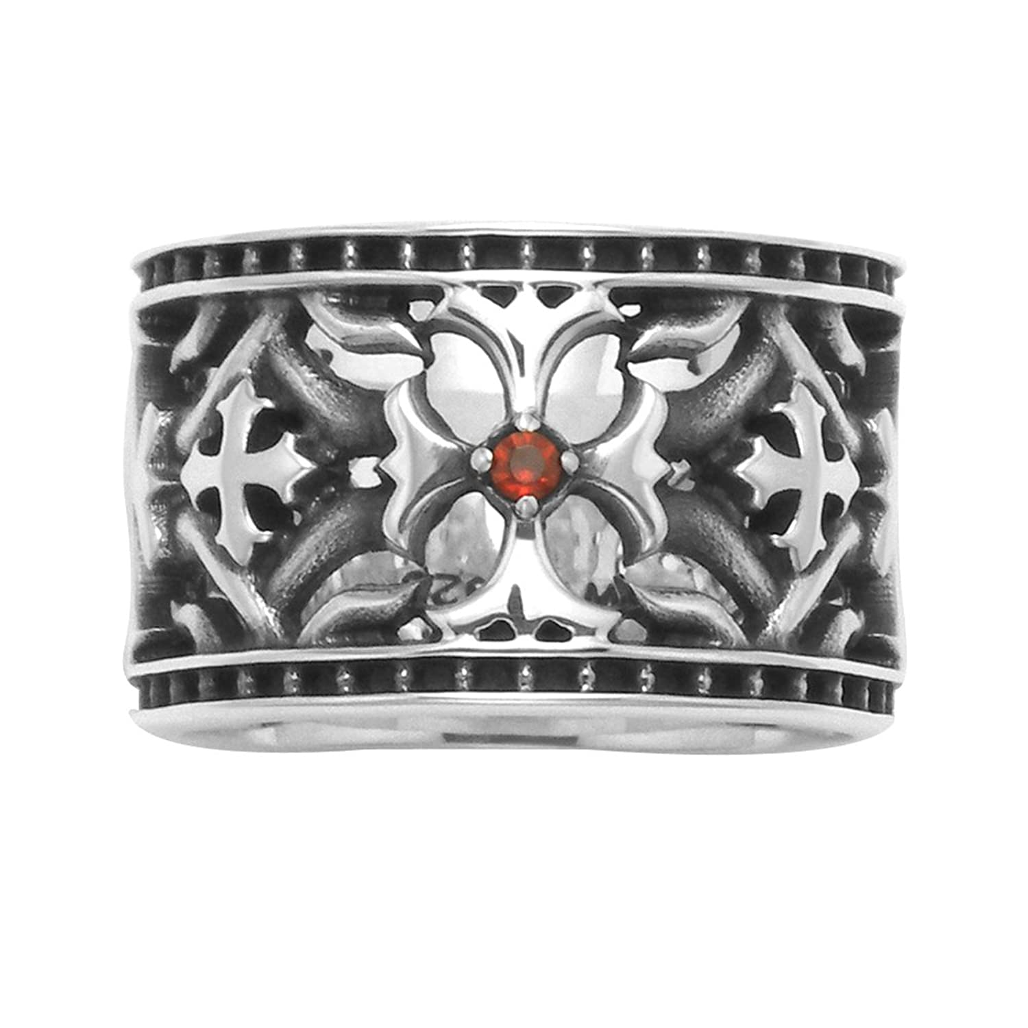 Deluxe Adult Costumes - Sterling silver Maltese Cross costume ring with antiqued openwork band and red faceted crystal