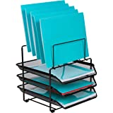 Mesh Desk Organizer and Storage - Office Organizer with 3 Sliding Letter Trays and 5 Vertical File Holders, File Rack for Bin