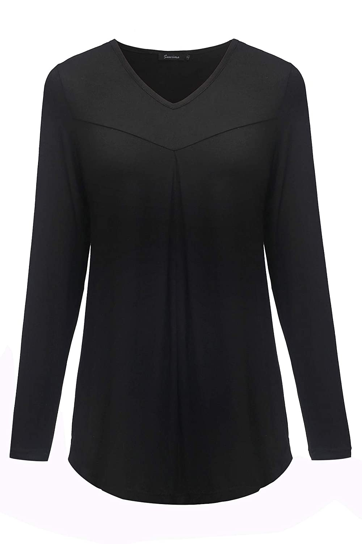 Black SUWIINA Women's Long Sleeve VNeck Pleated Long Top