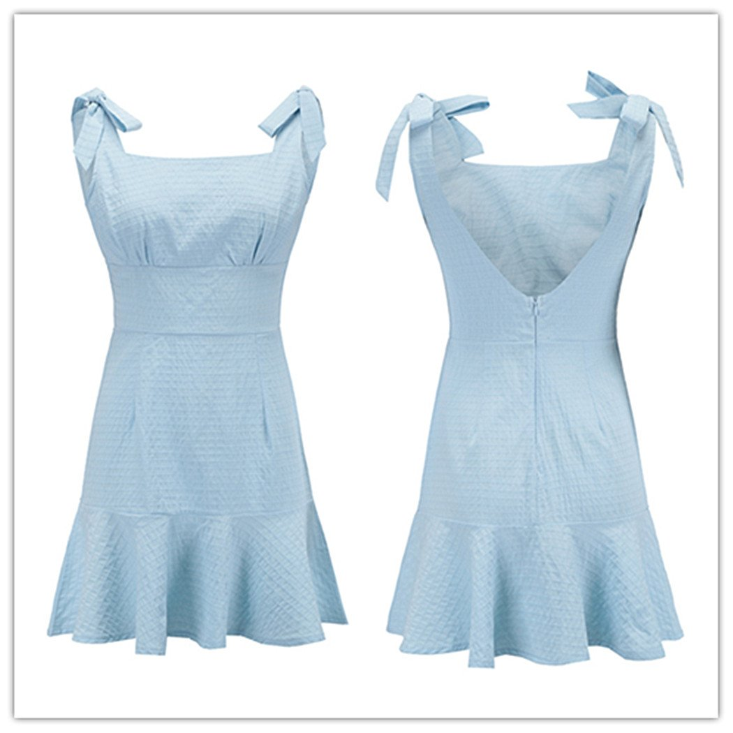 Vestido de mujer, Lananas Mujeres 2018 Verano Lace Up Sin mangas con volantes Tartán Honda Vestido corto Vacaciones en la playa Mini vestido: Amazon.es: ...