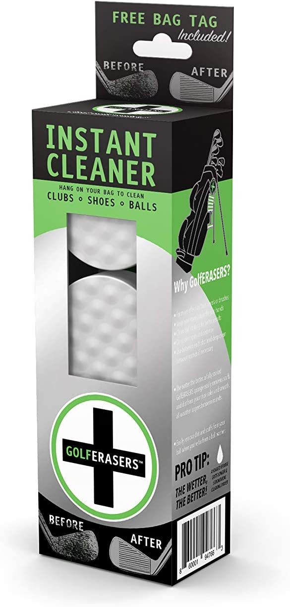 GolfERASERS Instant Golf Eraser, Premium Dual-Sided Sponge for Cleaning Clubs, Shoes & Golf Balls (6 Pack)