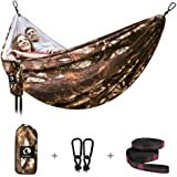 CANWAY Double Camping Hammock 115 x 75, Ultralight Portable Anti-Tear Parachute Nylon Hammock with Tree Straps, XL Large…
