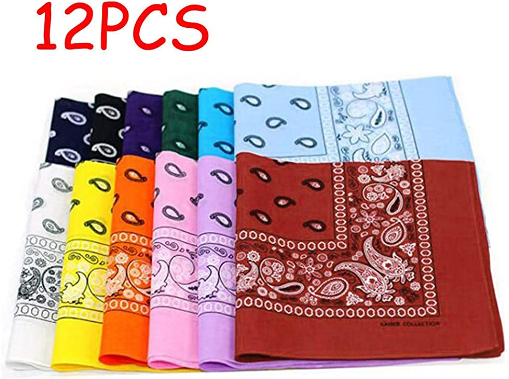 8PCS//12PCS//18PCS Cotton Paisley Bandanas Multi Colored Set Cowboy Bandanna Novelty Head Scarf Double Sided Pgojuni