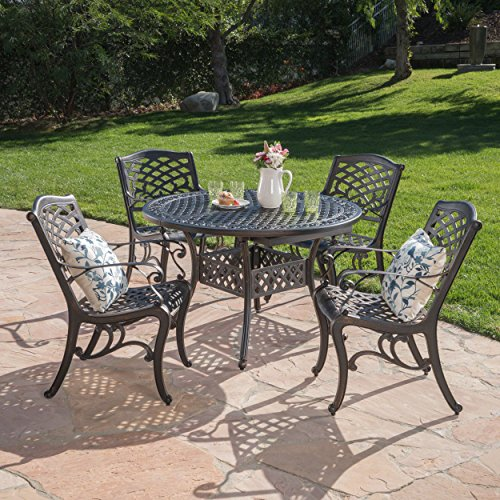 Sakura Outdoor 5 Piece Shiny Copper Finished Aluminum Dining Set with Expandable Dining Table -