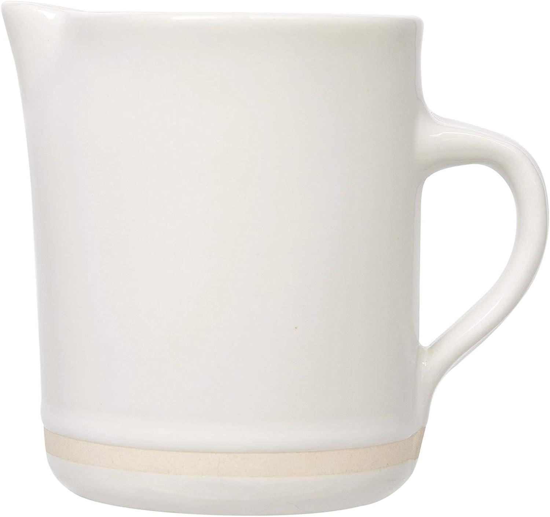 Creative Co-op DF1019 White Stoneware Matte Cream Stripe Creamer