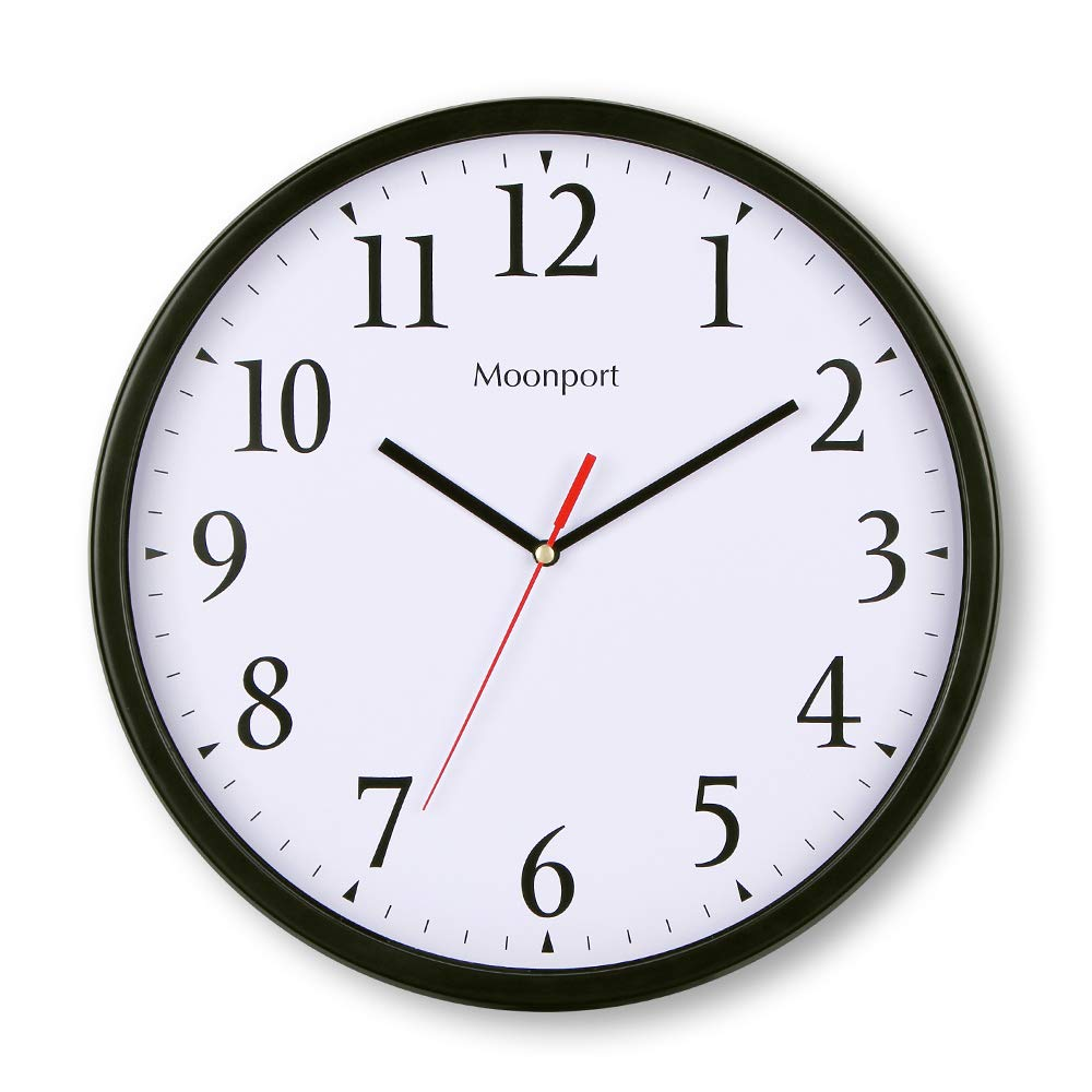 Silent Non Ticking Quartz Sweep Battery Operated Clock decorative for Kitchen Living Room,Bathroom,Bedroom Office(White) 12 Inch Round Wall Clock
