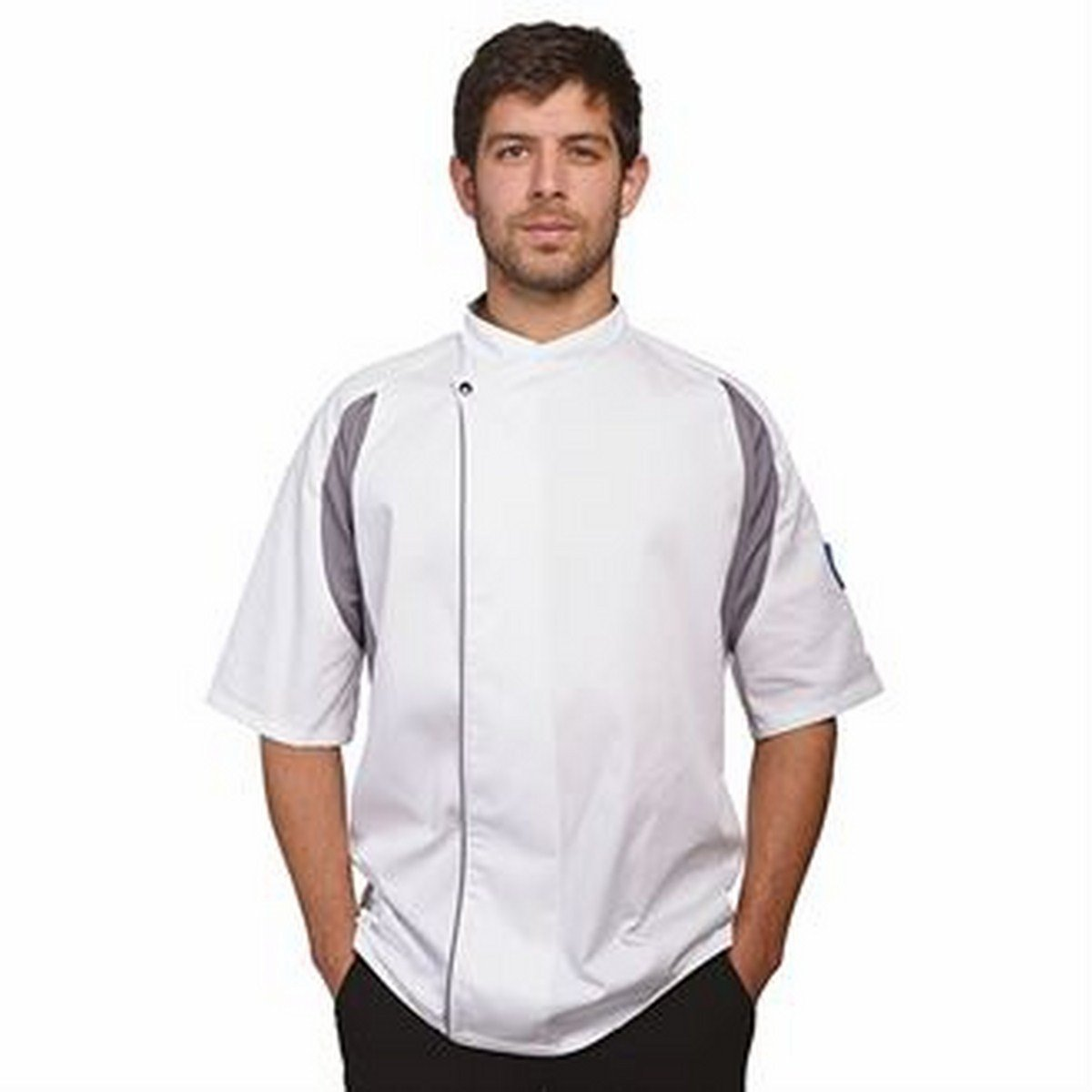 Staycool executive short sleeved tunic (DE12AH, GH,CGH)(White/ Black, L) by Le Chef