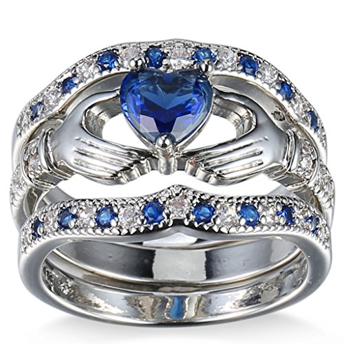 (FENDINA Womens 925 Sterling Silver Plated Wedding Engagement Ring Set Claddagh Love Heart Created Sapphire Solitaire Best Promise Rings for Her Size 6)