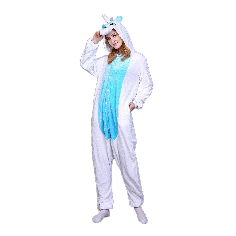 Unisex Animal Design Sweet 3D Unicorn Pajamas Nightwear Cosplay Costumes Party Festival Unicorn Sleepwear for Adults and Kids (S, Blue1)