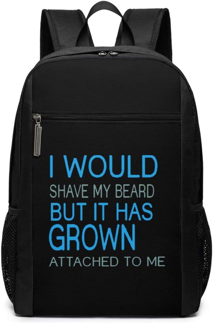 WLQP Me afeitaría la Barba Pero se me ha Pegado Bolsa de Negocios de 17 Pulgadas para Mujeres y Hombres (Negro)