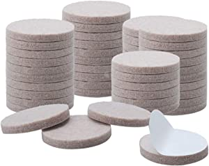"uxcell 50pcs Furniture Pads Round 1 1/4"" Self-stick Non-slip Anti-scratch Felt Pads Table Floors Protector Beige"