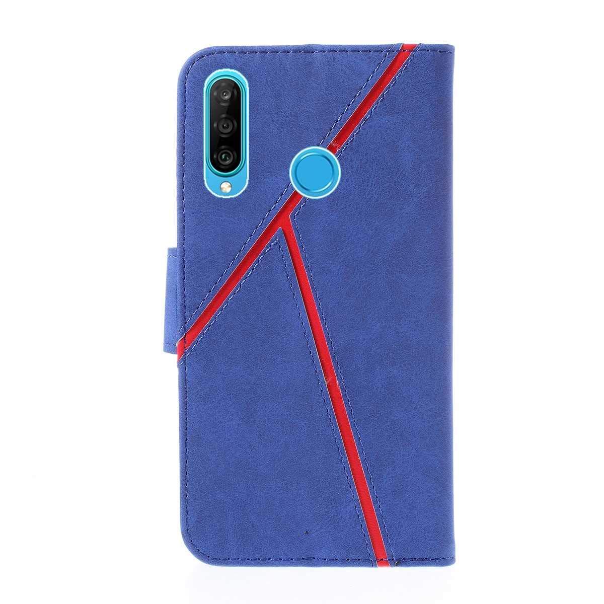 Huawei P30 Lite H/ülle Schlanke Kratzfestes Sto/ßfest H/ülle f/ür Huawei P30 Lite mit St/änder Funktion Blau SONWO Premium Retro PU Leder Wallet Flip Schutzh/ülle