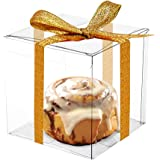 COMFECTO Clear Boxes for Favors 4x4x4, 50 pcs Transparent Gift Box for Macaron Cupcake Candy Cookies Ornament Gifts…