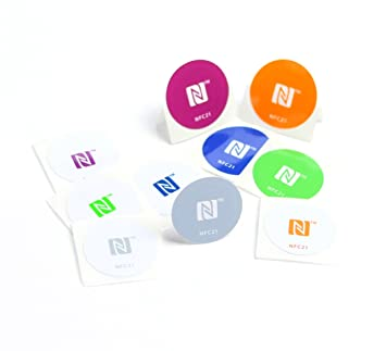 NFC Tag sticker 30 mm, 180 + 540 byte, 100% compatible, 10 pieces printed,  optimal for contact data/device/profile control (Wlan, Bluetooth, SMS,