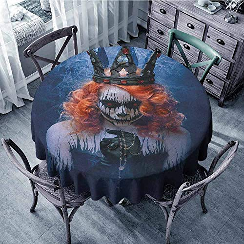 ScottDecor Camping Round Tablecloth Picnic Cloth Queen,Queen of Death Scary Body Art Halloween Evil Face Bizarre Make Up Zombie, Navy Blue Orange Black Diameter 50