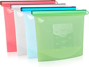 Silicone Bags Reusable Silicone Food Bag (6 Pack),Airtight Lunch Bags Preservation Bag/Versatile Silicone bags for Vegetable, Liquid, Snack, Meat, Sandwich (1000ML+1500ML+2000ML)