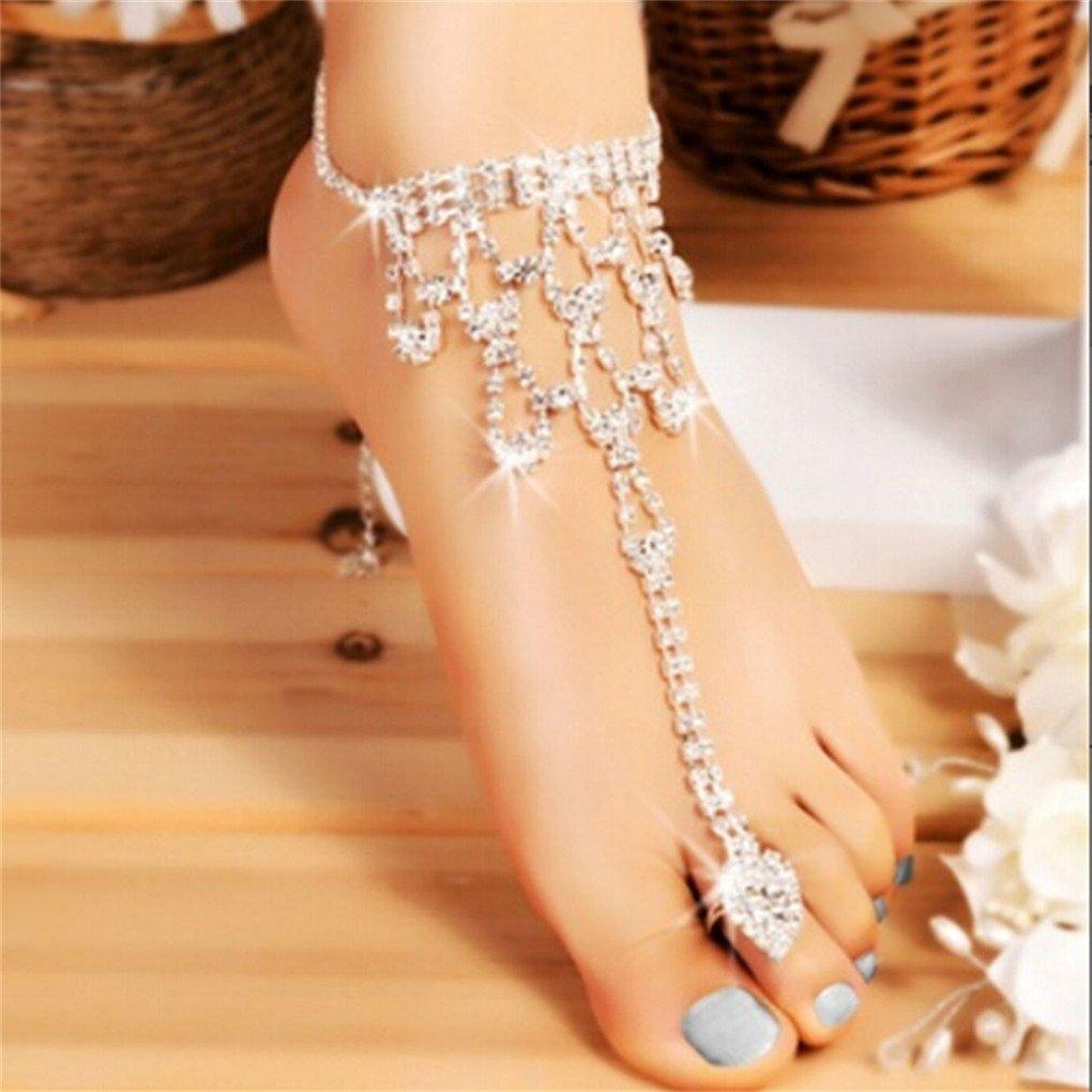CanVivi Women's White Rhinestone Finger Link Bracelet Anklet Jewelry Accessories
