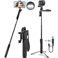 Selfie stick statief, 4-IN-1 selfie stick 360° draaibaar met video balans handvat + bleutooth afstandsbediening + LED…